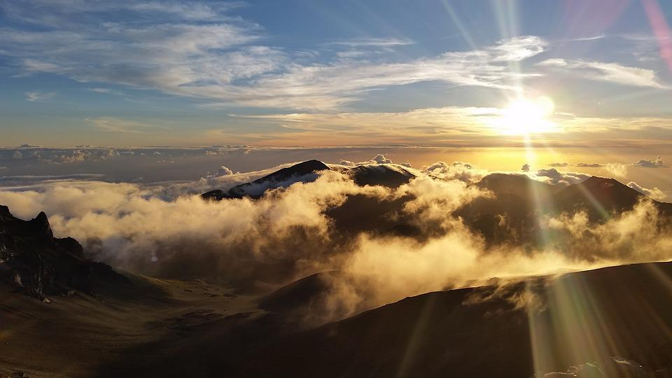 Haleakala, Sunrise, Clouds, Hawaii