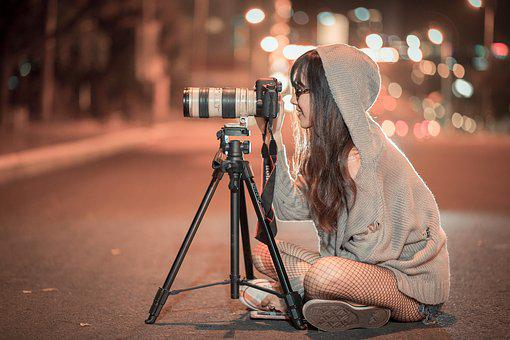 Night, Camera, Photographer, Photo