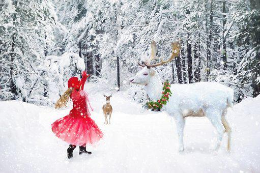 Winter, Little Girl Dancing, White Deer