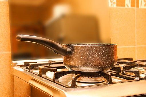 パン, ストーブ, 火災, 沸騰したお湯, キッチン, 画像, 無料画像
