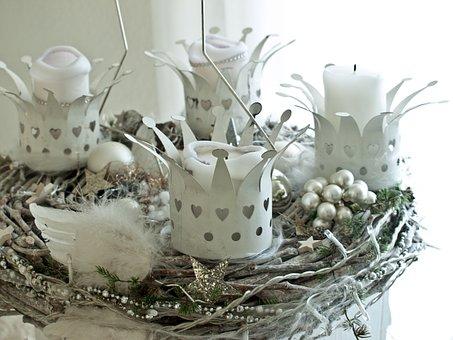 Corona De Adviento, Blanco, Navidad