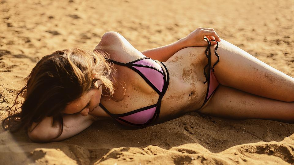 Strand, Meisje, Bikini, Sexy, Zand, Zandstrand, Badmode