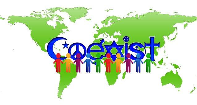 数字, 個人, シルエット, 人間, ハーモニー, 共存, 友情, 大陸, 地球