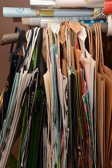 バッグ, ペーパー バッグ, 紙袋, 収集, 紙, 並んでください, パック
