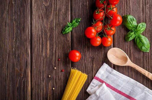 Spaghetti, Tomatoes, Basil, Wooden Spoon