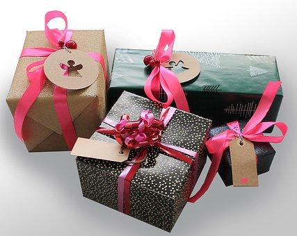 贈り物, ギフト, テープ, パッケージ, Skøjfe, 驚き, ラッピング
