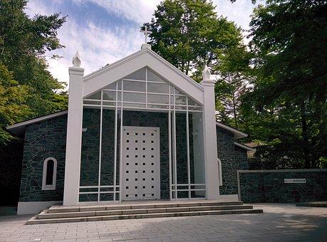 軽井沢, 長野, 礼拝堂, 森林, アーキテクチャ, 宗教, クロス, 軽井沢