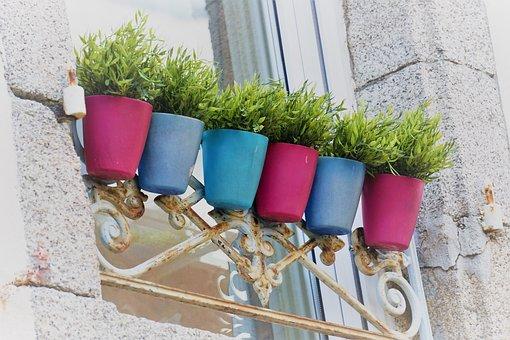 Pots, Pottery, Colors, Window