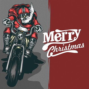 Christmas Motorcycle Santaclous Flyer Post