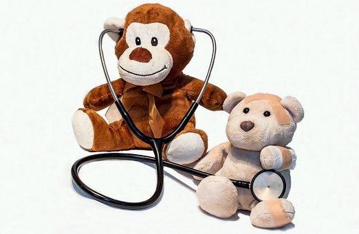 テディー ・ ベア, 病気, 聴診器, 負傷者, Arztbesuch