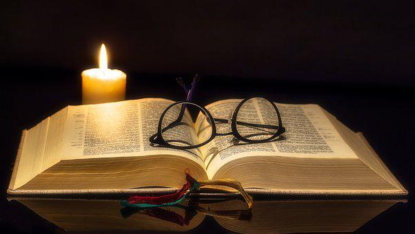 Book, Bible, Open, Glasses