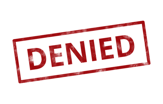 Denied Insurance Rejected Stamp Document P