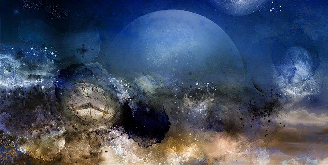 創造, 虚数, 時間, 時計, スペース, 見る, 古時計, ブルー, 天文時計