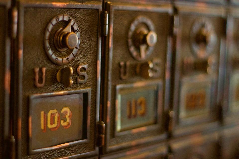 メール ボックス, 私たち, 103, 青銅, アンティーク, 古い, メーリング, ポスト オフィス, 配信