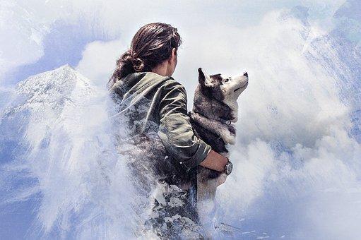 Woman, Wolf, Mountains, Art, Processing