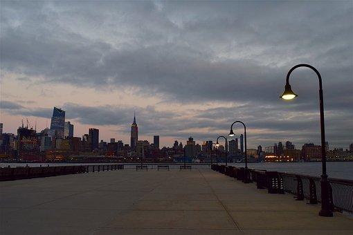 New York City Skyline Twilight Lights