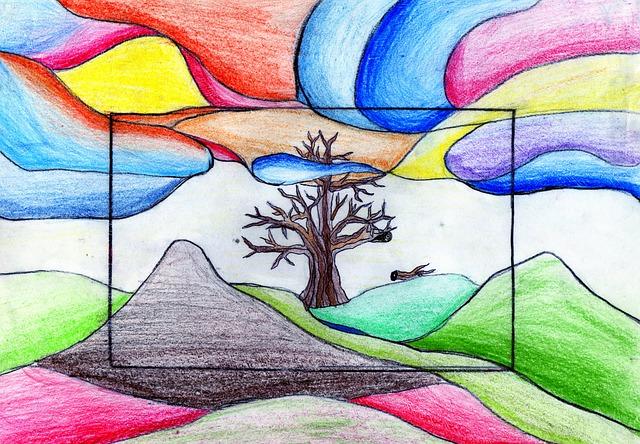 Dibujos Bonitos De Colores: Gratis Illustration: Træ, Farve, Farverige Skyer