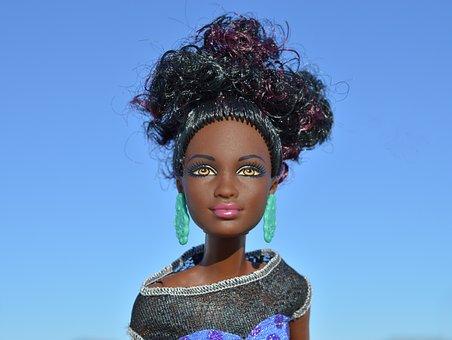 ブラック, アフリカ系アメリカ人, アフリカ, 人形, バービー, 顔, 肖像画