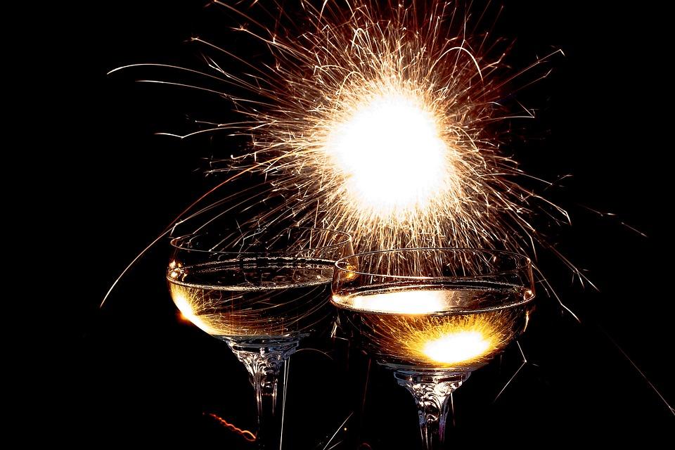 Sektgläser, Wunderkerze, Sekt, Gläser, Getränk, Alkohol