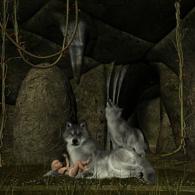 free illustration  wolf  baby  elf  cave  forest