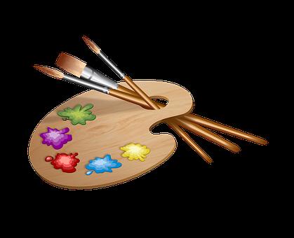 Farby, Pędzelki, Paleta, Malowanie