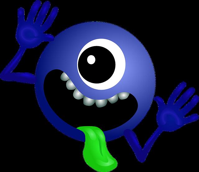 Free illustration Alien Dark Blue Smiley Monster