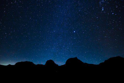 Starry Sky, Star, Mountains