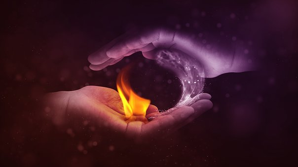 Yin And Yang, Fire, Water, Hand