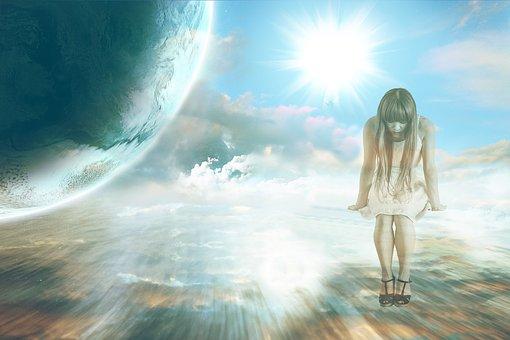 空, 惑星, 地球, 女性, 女の子, 雲, 銀河系, 恐怖, 考慮します
