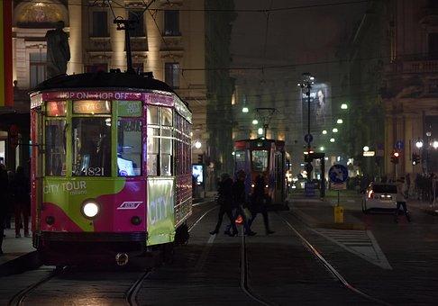 Tram, Milano, Binari, Persone, Viaggio