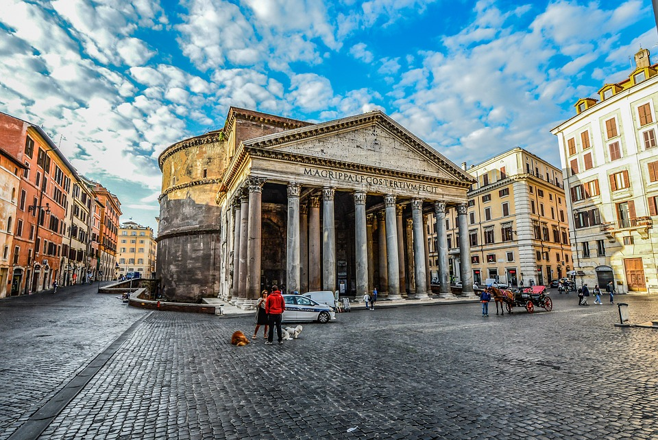 Roma, Pantheon, Piazza, Rotonda, Langit, Kuda, Gerbong