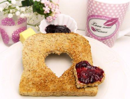 Toast, Bread, Heart, Jam, Breakfast