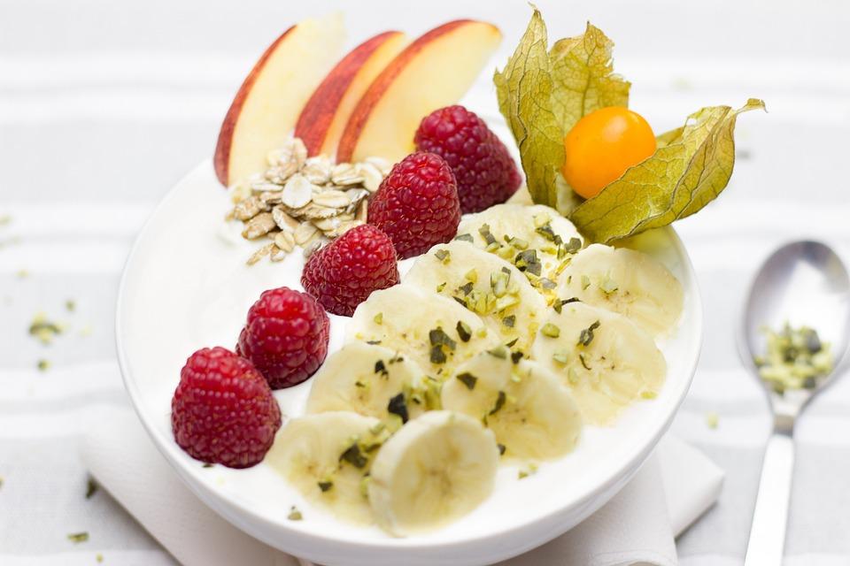 Prima Colazione, Sano, Banane, Lamponi, Frutti Di Bosco