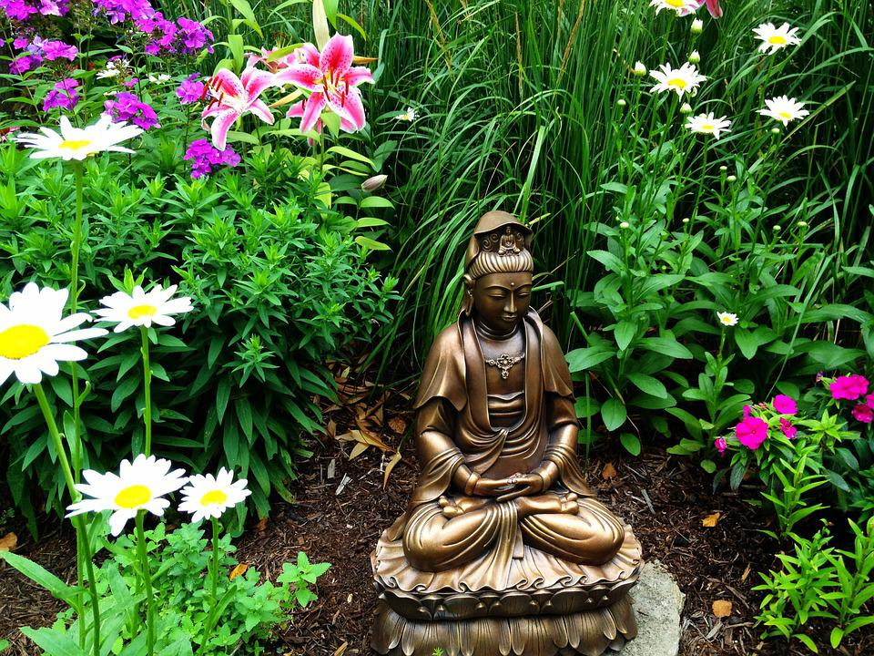 Goddess, Garden, Statue, Female, Flower, Bronze, Daisy