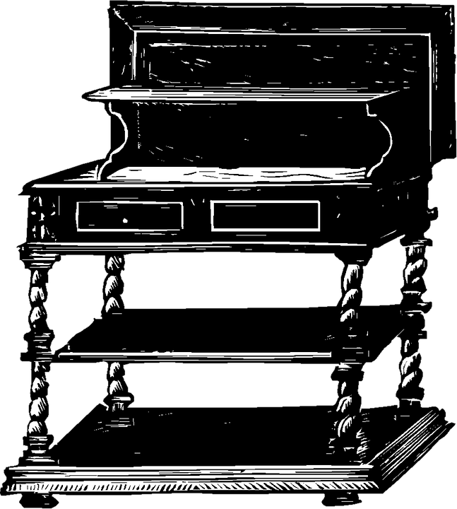 Desk Vintage Furniture Clip Art Old Antique