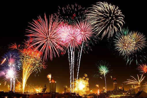花火, 新しい年の前夜, 市, 空, ビーコン, 光, クラッカー, 花火大会
