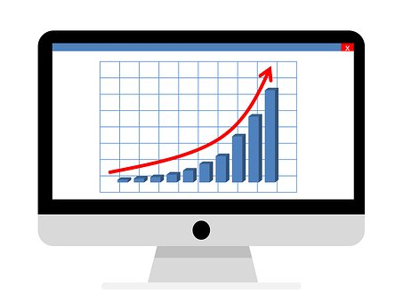 Drawing of a rising bar graph on a computer screen showing business growth