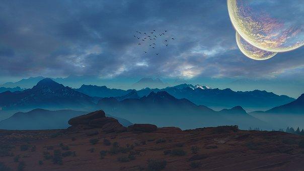 惑星, コスモス, 月, ソル, 小惑星, 青, 地球, 写真加工