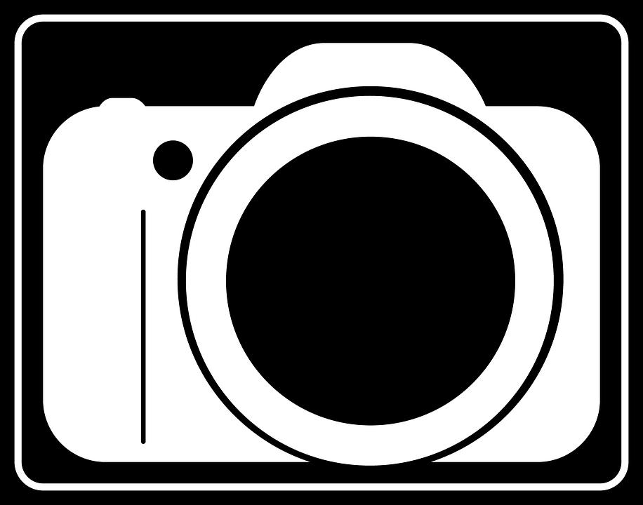 Photo icon camera design slr dslr black and white