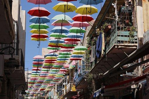 Jerusalem, Israel, Wache Straße Regnet