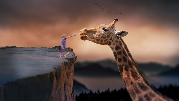 Giraffe, Child, Nature, Dream, Fantasy