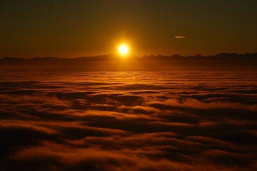 Solopgang, Wolkenmeer, Skyer, Nebelmeer
