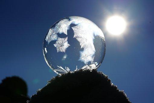 シャボン玉, 結晶, Eiskristalle, 凍結, 冷, バブル