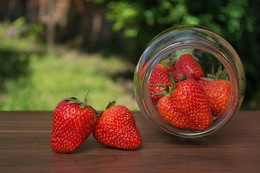 Strawberry, Strawberries, Jar, Garden