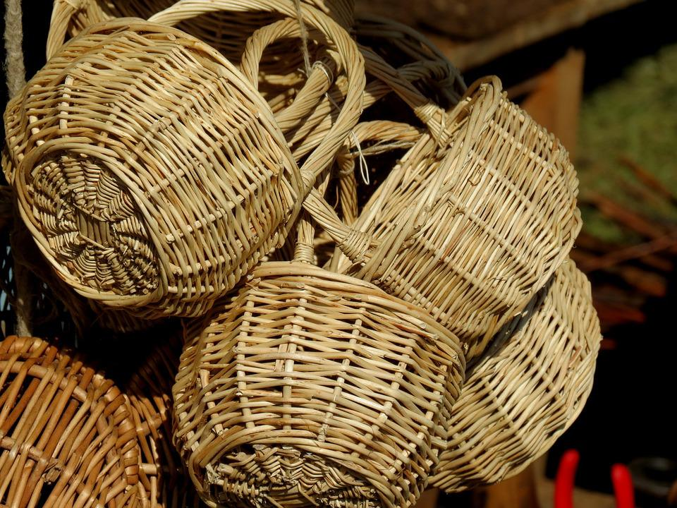 Baskets, Craft, Sales Stand, Wickerwork, Wicker, Weave