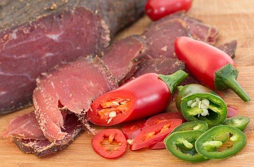 乾燥牛肉, 肉, 処理, スモーク ビーフ, ハラペーニョ, 健康, 辛い