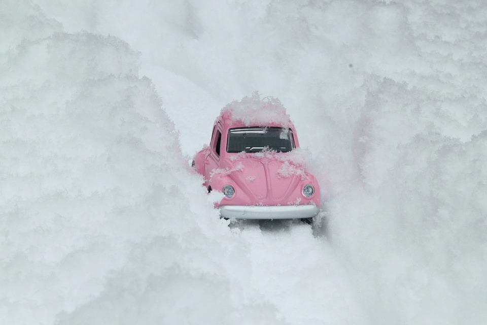 バグ, Vw, 車, ピンク, 雪, 雪道, 冬, モデル, 重い雪, 道路, 挑戦的な道