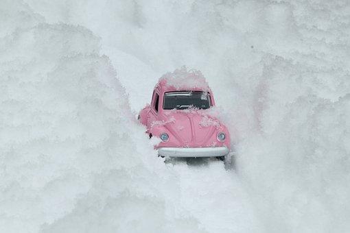 Fehler, Vw, Auto, Rosa, Schnee
