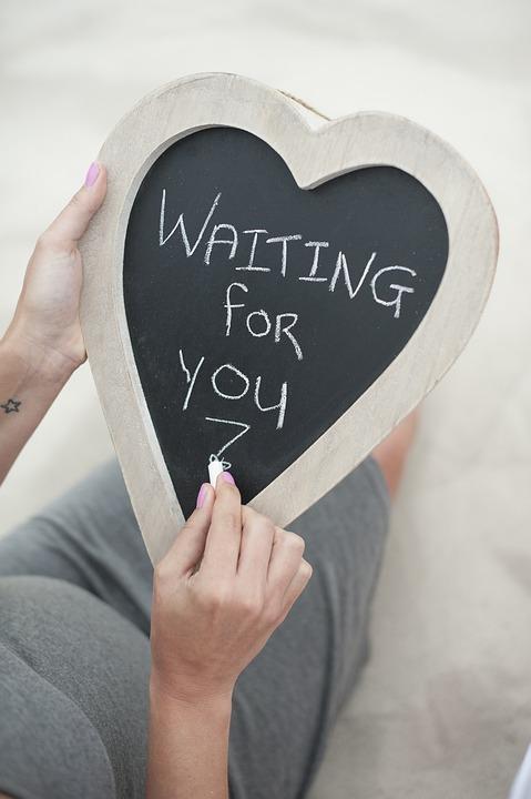 怀孕, 黑板上注, 消息, 期待, 等待着你, 孕产, 新父母, 灰色, 白, 手