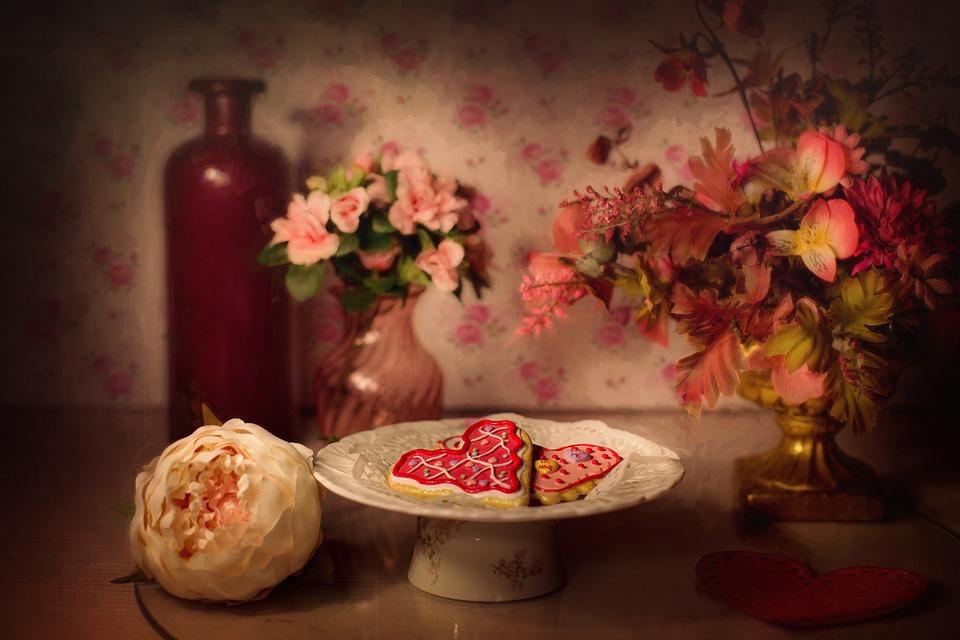 valentines day valentine cookies still life